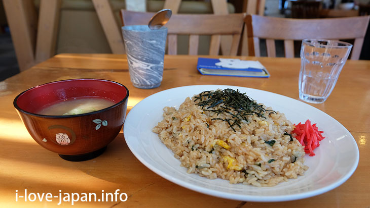 Lunch is a Fried rice with Granger garlic(specialty in Hokkaido)