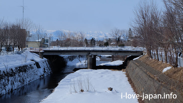 Obihiro river and the mountains(Hokkaido)