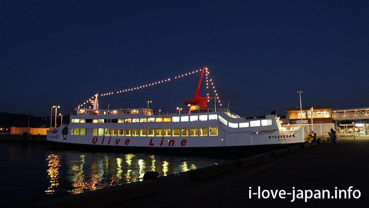 Takamatsu port at night@Sightseeing Area naer Takamatsu station,Takamatsu port(Kagawa)