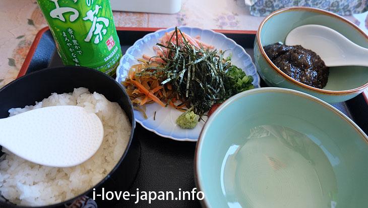 "I ate ""boiled rice in cold soup with Mozuku(seaweed)"" at Misaki near Akazaki Coast in Yoron Island"